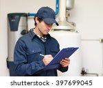 technician servicing an hot... | Shutterstock . vector #397699045