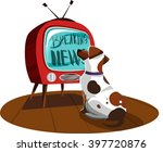 white dog watches the news on... | Shutterstock .eps vector #397720876