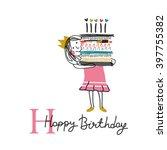 happy birthday typographic... | Shutterstock .eps vector #397755382