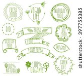 set of hand drawn eco frendly... | Shutterstock .eps vector #397755385