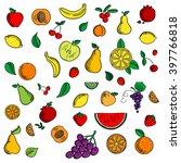 sweet fruits and berries...   Shutterstock .eps vector #397766818