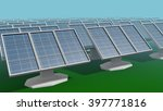 Solar Panel Array in a Simple Low Poly 3D Illustration - stock photo