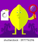 lemon with magnifier glass and... | Shutterstock .eps vector #397776196