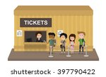 people stand in line to buy a...   Shutterstock .eps vector #397790422