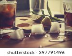rum cocktail in a glass with... | Shutterstock . vector #397791496