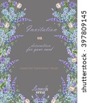 card template with the floral... | Shutterstock . vector #397809145
