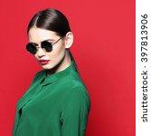 fashion model in sunglasses  ... | Shutterstock . vector #397813906