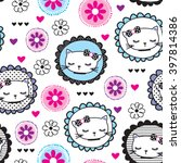 Stock vector seamless pattern with cats and flowers on white background vector illustration 397814386