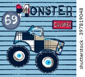 Big Monster Car On Striped...