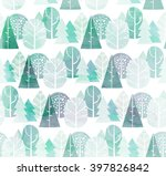 watercolor trees seamless... | Shutterstock . vector #397826842
