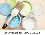 paint and brush on the pine... | Shutterstock . vector #397828135