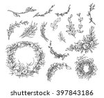 vector hand drawn vintage... | Shutterstock .eps vector #397843186