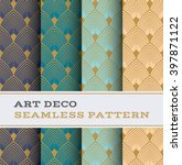 Art Deco seamless pattern with 4 colours background | Shutterstock vector #397871122