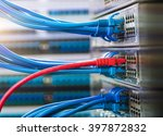 network panel hub and cables... | Shutterstock . vector #397872832