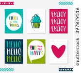 set of 6 cute creative cards... | Shutterstock .eps vector #397879516