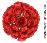 Stock photo top view of red roses in vase isolated on white background 397887658