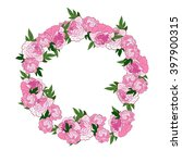 pink floral wreath with peonies.... | Shutterstock . vector #397900315