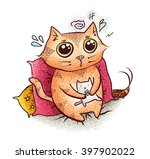 cute cozy cat sitting on the... | Shutterstock .eps vector #397902022