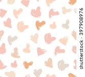 cute pink inky repeating hearts ... | Shutterstock .eps vector #397908976