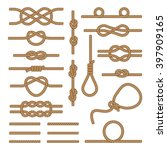set brown ropes intertwined in... | Shutterstock . vector #397909165