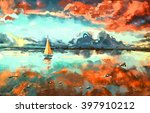 digital painting of  boat in... | Shutterstock . vector #397910212
