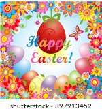 easter greeting with flowers... | Shutterstock . vector #397913452