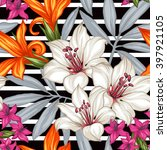 tropical floral seamless... | Shutterstock .eps vector #397921105