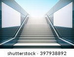 Empty White Stairs In...