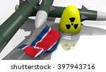 Stylized Nuclear Weapons and a North Korean Flag in a simple low poly 3D Illustration - stock photo