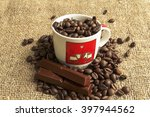 chocolate and coffee beans on... | Shutterstock . vector #397944562