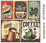 Set Of Retro Coffee Tin Signs...