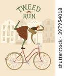 Tweed Run Cartoon Poster. City...
