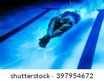 female swimmer underwater ... | Shutterstock . vector #397954672