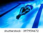 Female Swimmer Underwater ...