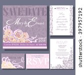 set of wedding cards or... | Shutterstock .eps vector #397957192