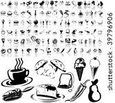 food set of black sketch. part... | Shutterstock .eps vector #39796906
