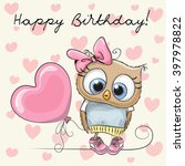cute cartoon owl girl with a... | Shutterstock .eps vector #397978822
