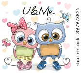 two cute owls on a hearts... | Shutterstock .eps vector #397978825