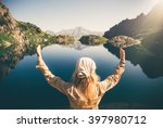 woman traveler meditating... | Shutterstock . vector #397980712