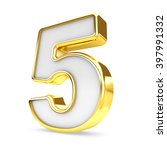 3d gold   white number 5 five... | Shutterstock . vector #397991332