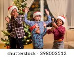 children scared of christmas... | Shutterstock . vector #398003512
