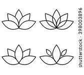 lotus flower black set element...   Shutterstock . vector #398003896