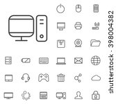 linear computer icons set....