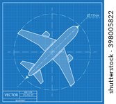 airplane vector blueprint icon  | Shutterstock .eps vector #398005822