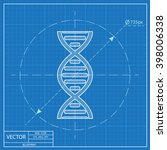 vector dna molecule blueprint... | Shutterstock .eps vector #398006338
