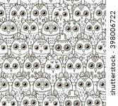 cute owls seamless pattern.... | Shutterstock .eps vector #398006722