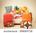 happy child ready for a summer... | Shutterstock . vector #398009728