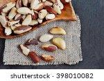 brazil nuts  close up shot  on... | Shutterstock . vector #398010082