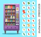 vending machine with snacks and ... | Shutterstock .eps vector #398031028