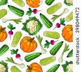 ripe farm vegetables seamless... | Shutterstock .eps vector #398049472